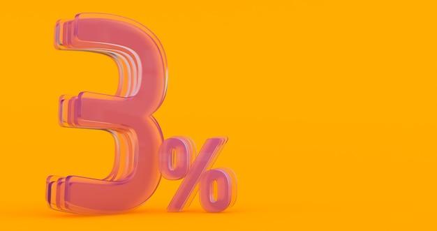 Tre (3) per cento in vetro, numero di vetro 3d su sfondo colorato banner, rendering 3d