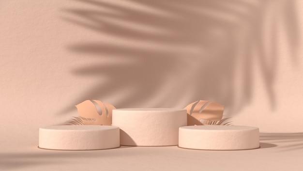 Tre podio astratto per il posizionamento di prodotti cosmetici in uno sfondo naturale