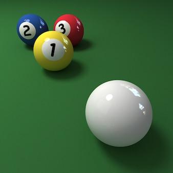 Tre palle da biliardo con i numeri uno, due, tre e la stecca