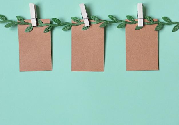Tre cartellini dei prezzi o etichette di carta bianca pendono su un ramoscello verde.