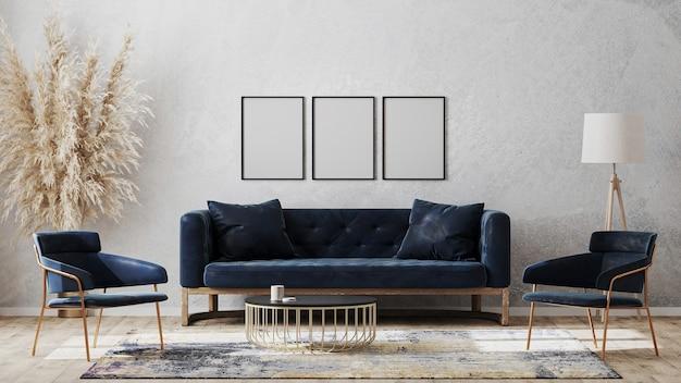 Tre fotogrammi di poster in bianco sul modello di muro grigio nel design di interni di lusso moderno con divano blu scuro, poltrone vicino al tavolo del caffè, tappeto fantasia sul pavimento di legno, rendering 3d