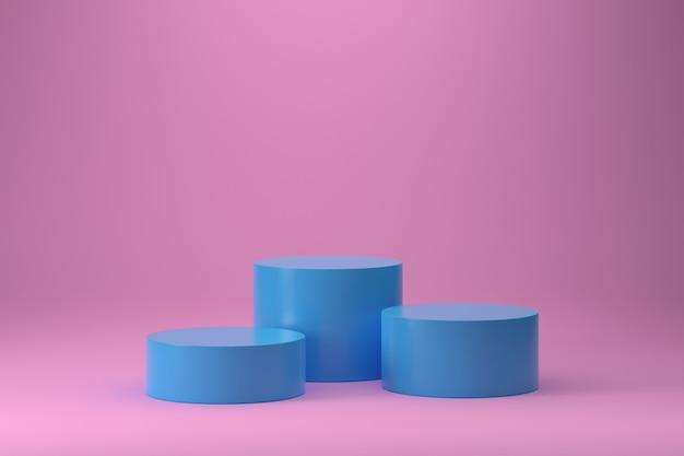 Podio di tre cilindri blu su sfondo rosa sfumato.