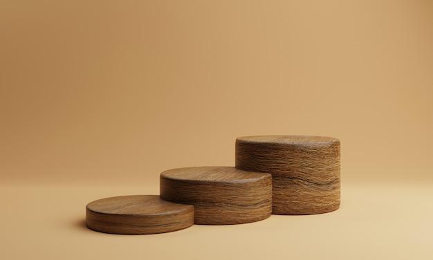 Tre scala marrone forma cilindro tondo in legno prodotto stadio podio su sfondo arancione