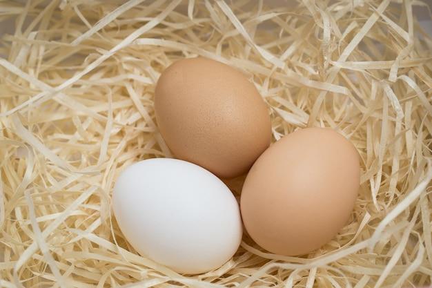 Tre uova di gallina giacciono in un nido di paglia, sparate da vicino
