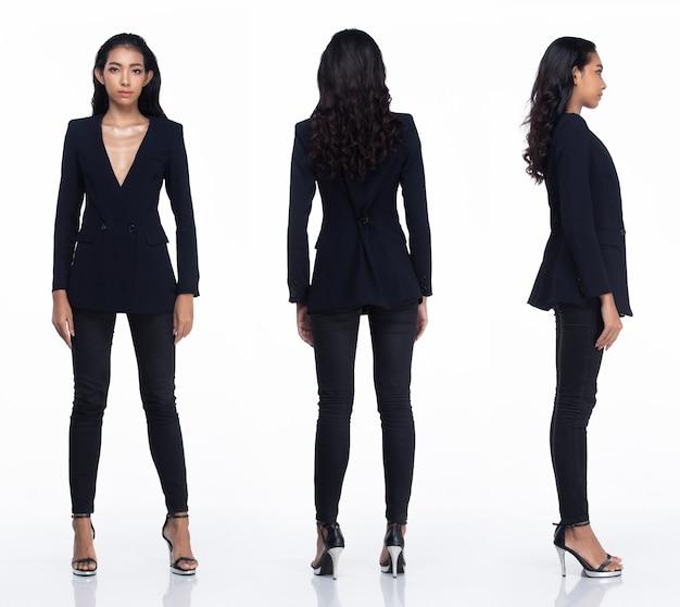 Tre collage tutta la lunghezza degli anni '20 affari asiatici in ufficio donna, capelli neri, vestito scarno sexy e scarpe tacco alto. la femmina pone l'eleganza della moda guarda su sfondo bianco isolato