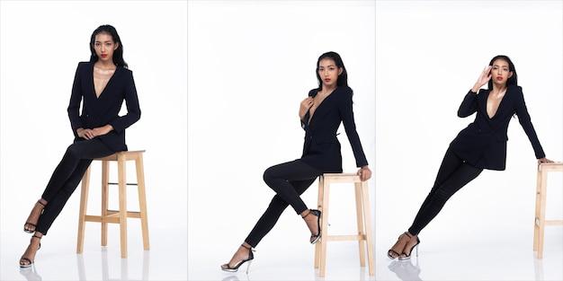 Tre collage tutta la lunghezza degli anni '20 affari asiatici in ufficio donna, capelli neri, vestito scarno sexy e scarpe tacco alto. la femmina pone la moda sullo sgabello su sfondo bianco isolato