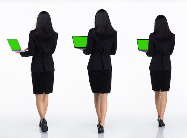 Tre collage tutta la lunghezza degli anni '20 affari asiatici in ufficio donna nera capelli corti indossare gonna abito scuro e scarpe. la femmina porta il laptop al lavoro e torna indietro vista posteriore su sfondo bianco isolato