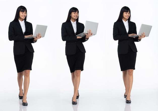 Tre collage tutta la lunghezza degli anni '20 affari asiatici in ufficio donna nera capelli corti indossare gonna abito scuro e scarpe. la femmina porta il laptop per lavorare e camminare verso su sfondo bianco isolato