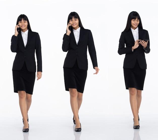 Tre collage tutta la lunghezza degli anni '20 affari asiatici in ufficio donna nera capelli corti indossare gonna abito scuro e scarpe. la femmina tiene lo smartphone per lavorare e camminare su sfondo bianco isolato