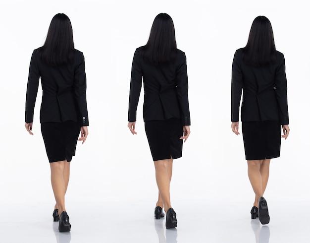 Tre collage tutta la lunghezza degli anni '20 affari asiatici in ufficio donna nera capelli corti indossare gonna abito scuro e scarpe. femmina a piedi indietro vista posteriore su sfondo bianco isolato
