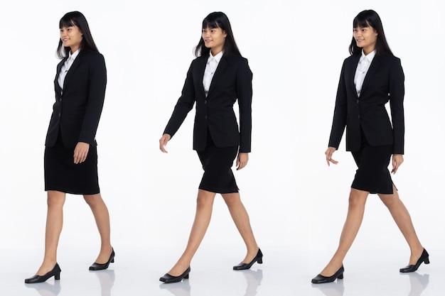 Tre collage tutta la lunghezza degli anni '20 affari asiatici in ufficio donna nera capelli corti indossare gonna abito scuro e scarpe. la femmina cammina verso la vista laterale alla macchina fotografica sopra fondo bianco isolato