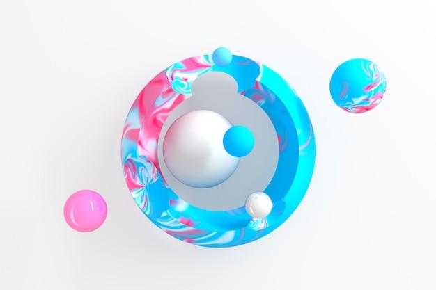 Sfondo astratto tridimensionale di molti cerchi blu con ritagli rotondi con un display stilizzato