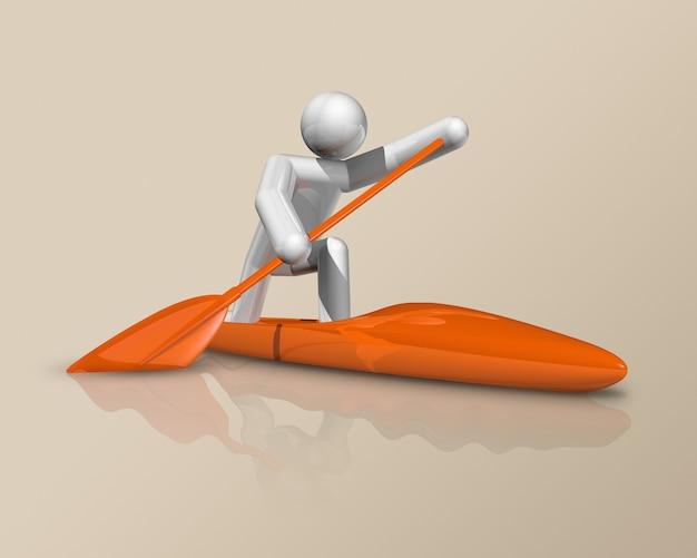 Simbolo tridimensionale di sprint di canoa, sport olimpici. illustrazione