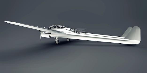 Modello tridimensionale dell'aereo bombardiere della seconda guerra mondiale. corpo in alluminio lucido con due code e ali larghe. motore turboelica. aereo lucido su sfondo grigio. illustrazione 3d.
