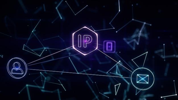 L'infographics tridimensionale della topologia di rete con l'ip indirizza l'illustrazione 3d