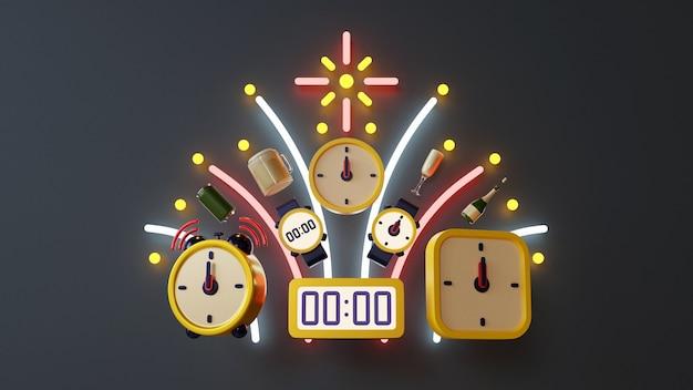 Composizione tridimensionale della rappresentazione degli oggetti relativi del nuovo anno
