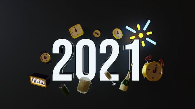 Illustrazione di rendering tridimensionale del numero illuminato adatto per il nuovo anno
