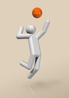 Simbolo di pallavolo tridimensionale, sport olimpici.