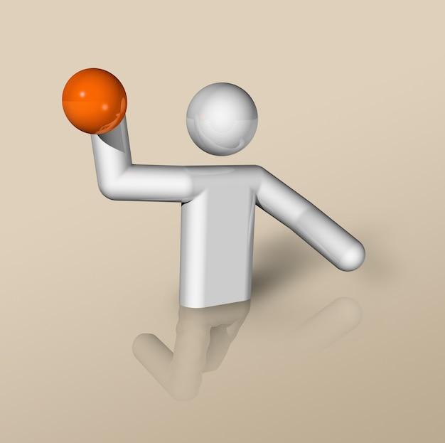 Simbolo tridimensionale di pallanuoto, sport olimpici. illustrazione