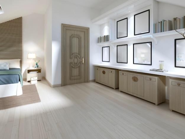Tre cassetti e mensole con libri in camera da letto in stile moderno. rendering 3d.