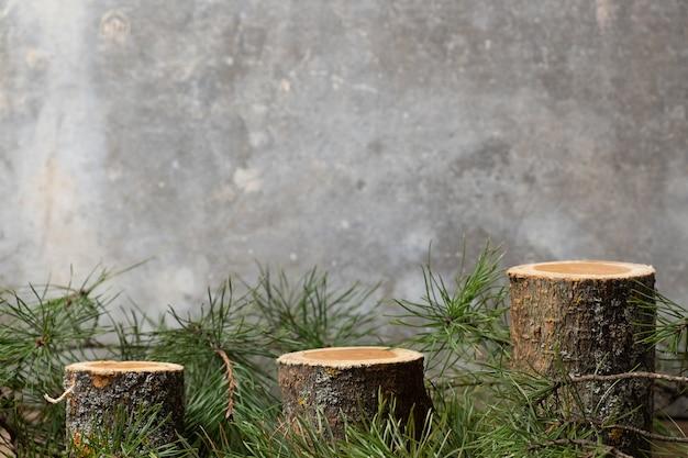 Tre podi cilindrici vuoti in legno naturale accanto al muschio su uno sfondo grigio cemento