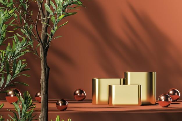 Tre podi d'oro e palline rosse lucide su piattaforma arancione, piante verdi in primo piano e piante ombreggiate sullo sfondo, sfondo astratto per la presentazione del prodotto o la pubblicità. rendering 3d