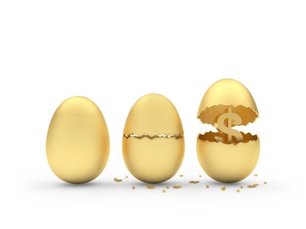 Tre uova rotte dorate con un segno di dollaro all'interno.