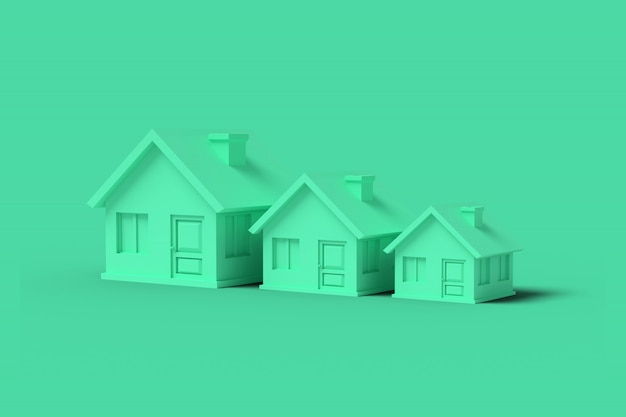 Tre case vuote verdi su verde