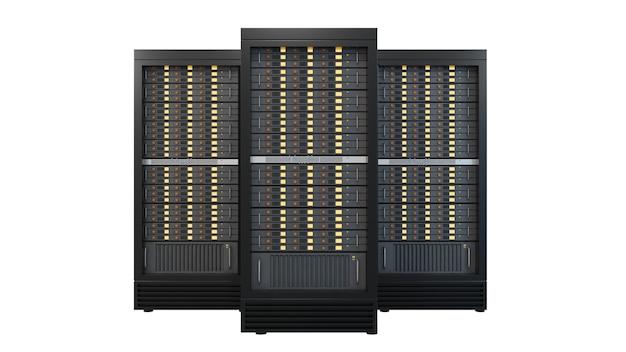 Tre contenitori di rack del server di hosting isolati su priorità bassa bianca. immagine del percorso di residuo della potatura meccanica immagine 3d dell'illustrazione del rendering.