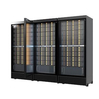 Tre contenitori di rack del server di hosting con apertura isolata su priorità bassa bianca. immagine del percorso di residuo della potatura meccanica immagine 3d dell'illustrazione del rendering.