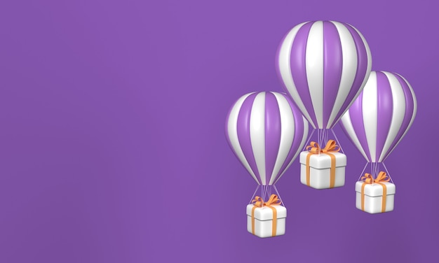Tre mongolfiere con scatole regalo su sfondo viola. copia spazio. rendering 3d