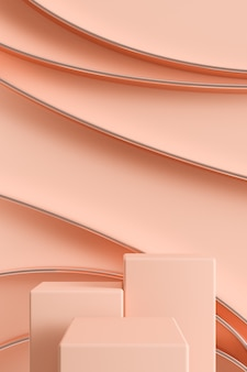 Tre podi di colore chiaro con linea circolare lucida, sfondo astratto per il branding degli annunci e la presentazione del prodotto. rendering 3d