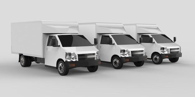 Tre piccoli camion bianchi... servizio di consegna auto. consegna di merci e prodotti ai punti vendita. rendering 3d.