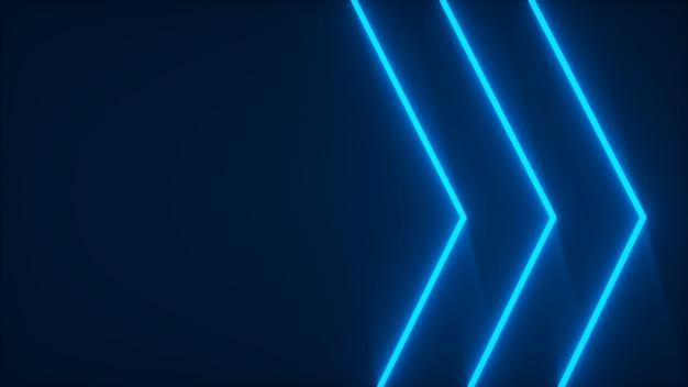 Tre strisce blu neon che si illuminano nel rendering 3d scuro