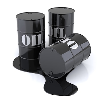 Tre fusti di petrolio. immagine generata digitalmente. rendering 3d