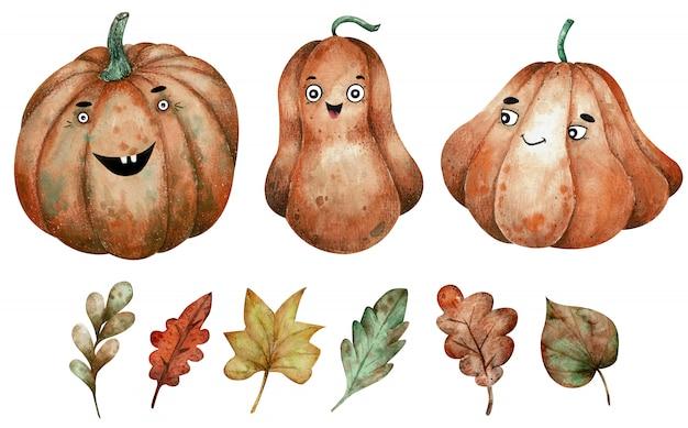 Tre zucche arancio dell'acquerello e clipart delle foglie di autunno. disegnata a mano illustrazione di halloween.