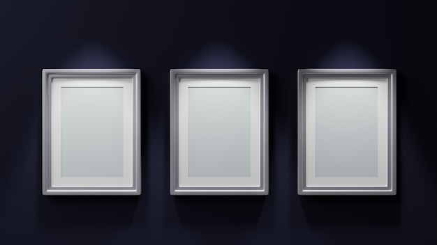 Tre dipinti con cornici d'argento su sfondo blu 3d render