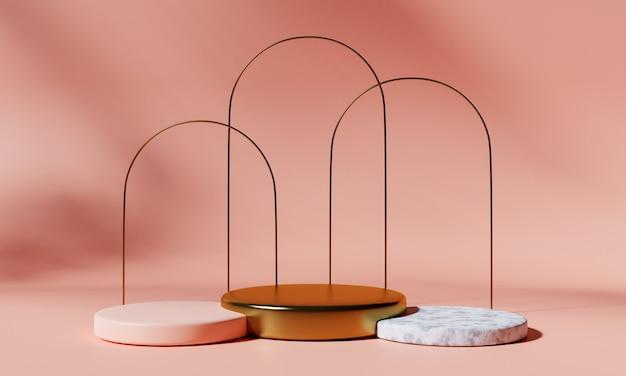Tre podi di prodotto con archi su sfondo rosa. rappresentazione 3d.