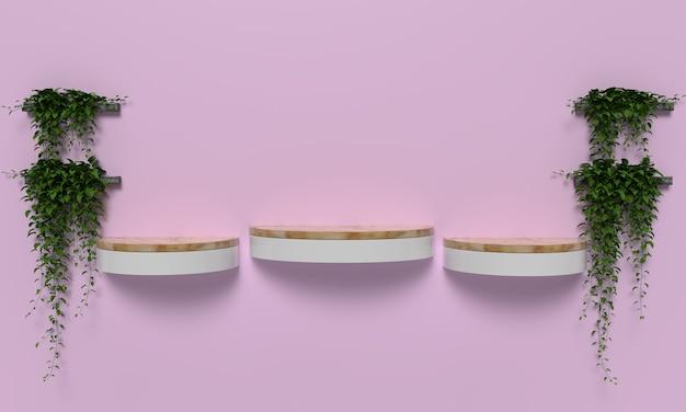 Tre stand prodotti posizionati sulla parete verde decorazioni vegetali sfondo rosa terra