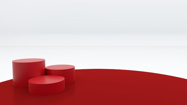 Tre podi rotondi rossi sono posti su uno sfondo rosso