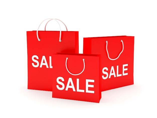 Tre sacchetti della spesa rossi con vendita di testo