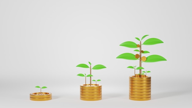 Tre file di monete con pianta su monete e piantine crescono su sfondo bianco. finanza e concetto di investimento