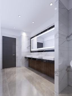 Tre lavelli sul top in marmo nero e un grande specchio nella cornice. bagno pubblico. rendering 3d