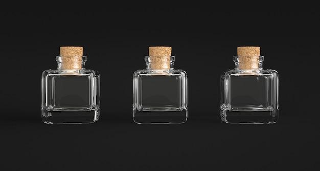 Tre contenitori di vetro quadrati con tappo di sughero.