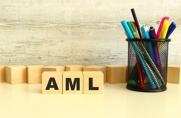 Tre cubi di legno impilati con lettere aml su un desktop bianco su sfondo grigio.