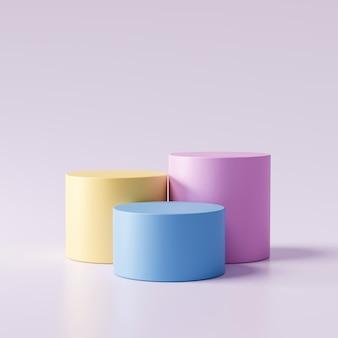 Tre fasi dell'esposizione del prodotto di colore pastello su fondo moderno con la vetrina in bianco per mostrare. piedistallo vuoto o piattaforma podio. rendering 3d.