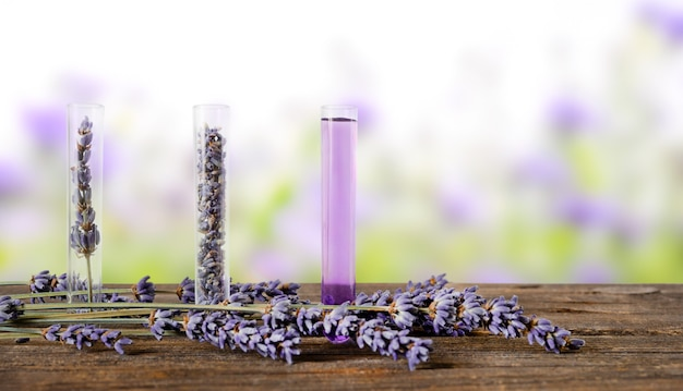 Tre provette con fiori di lavanda ed essenza aromatica con fiori di lavanda su legno. sfondo sfocato della natura.