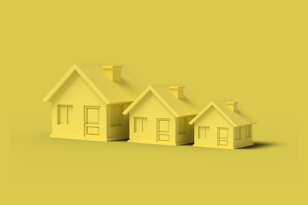 Tre case vuote gialle su giallo