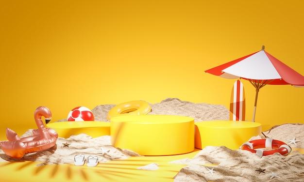 Tre prodotti gialli sul podio display summer concept sand 3d rendering