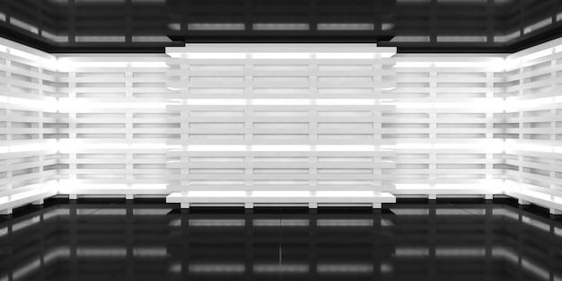 Sfondo astratto tridimensionale con riflessi luci al neon bianche luminose sulle pareti